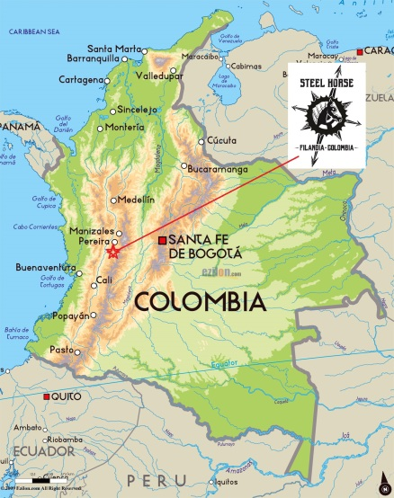 Map of colombia and steel horse location